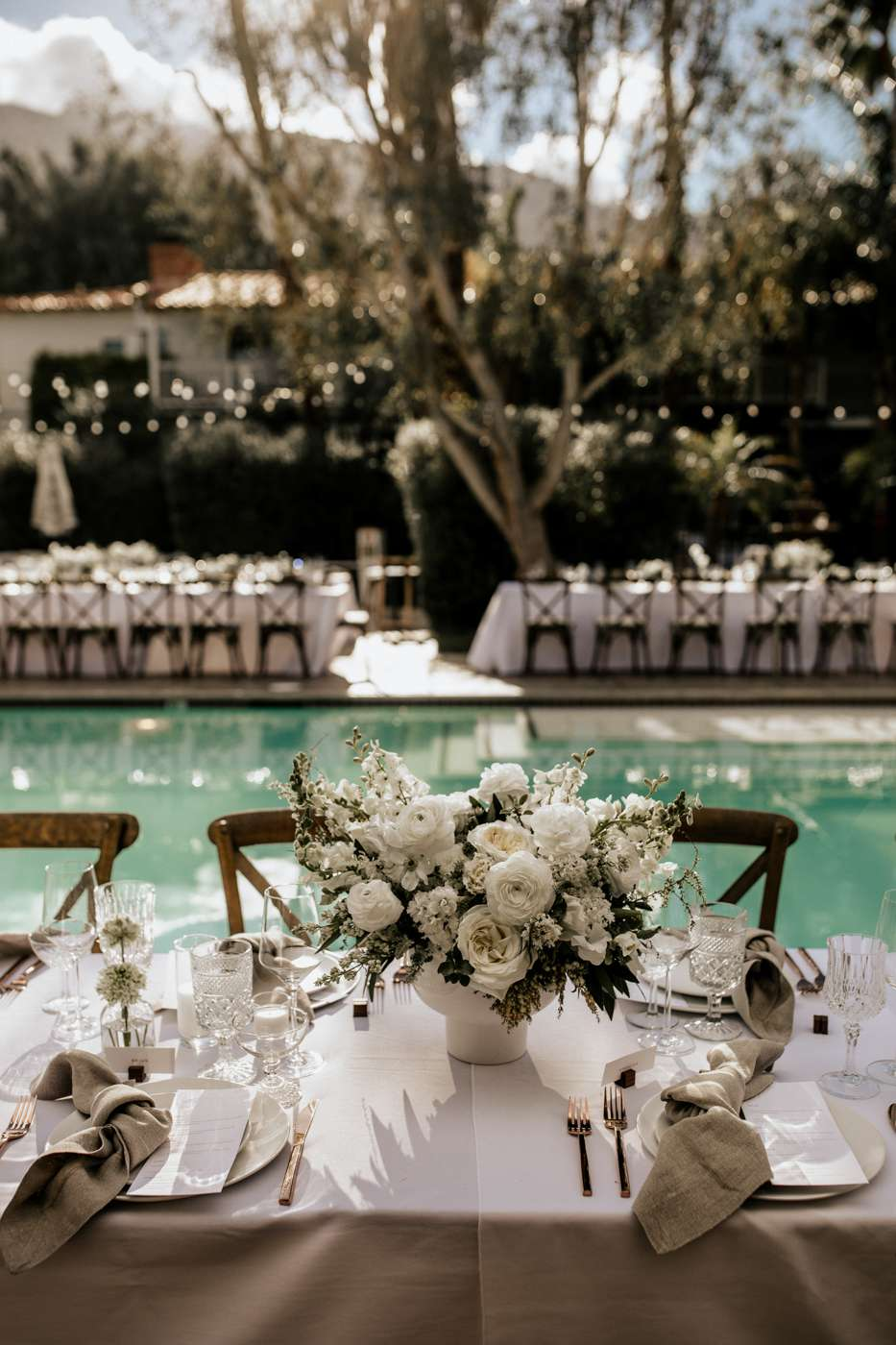 white wedding reception table