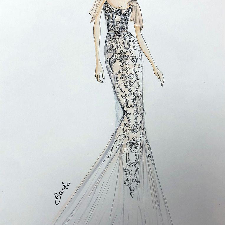 Berta Bridal Fashion Week Fall 2020 Sketch