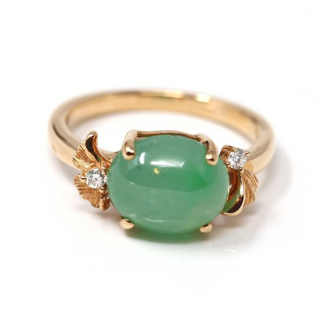 RealJade Double Halo Natural Imperial Green Jadeite Jade Engagement Ring