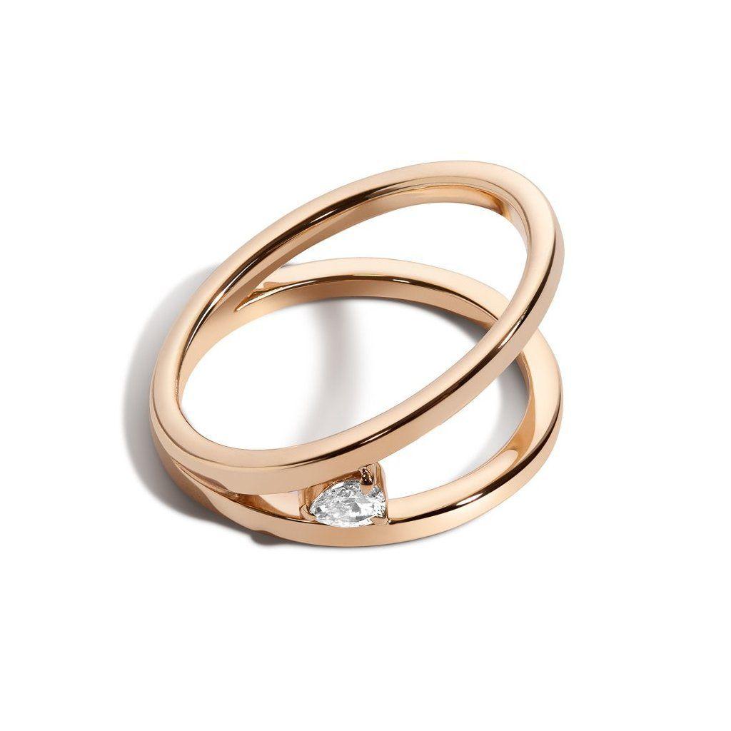 Single pear diamond simple ring