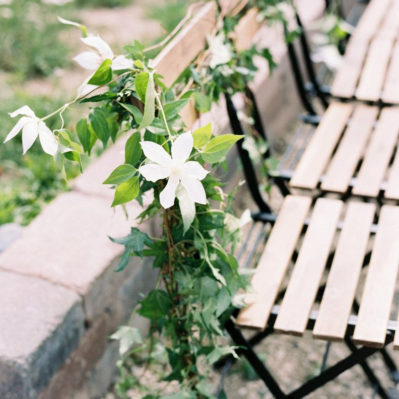 White flowers on seats
