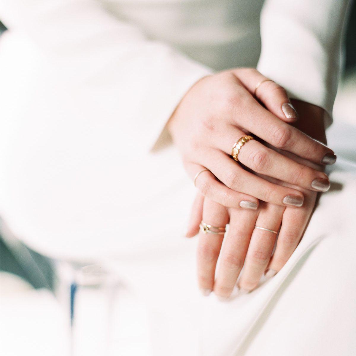 Bride with metallic manicure