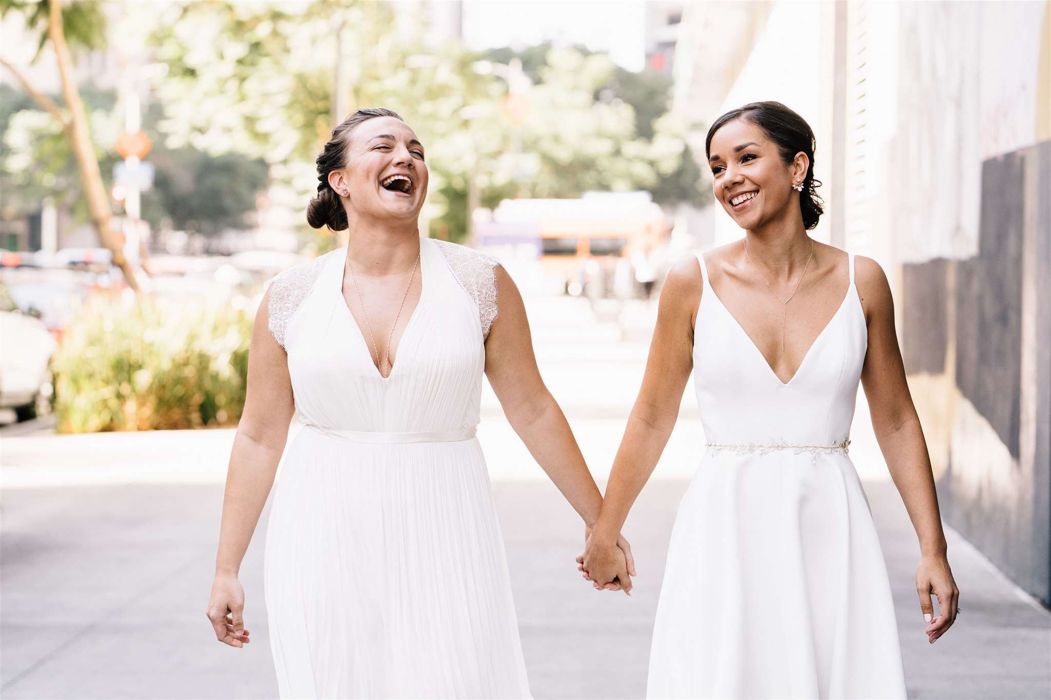 two brides holding hands