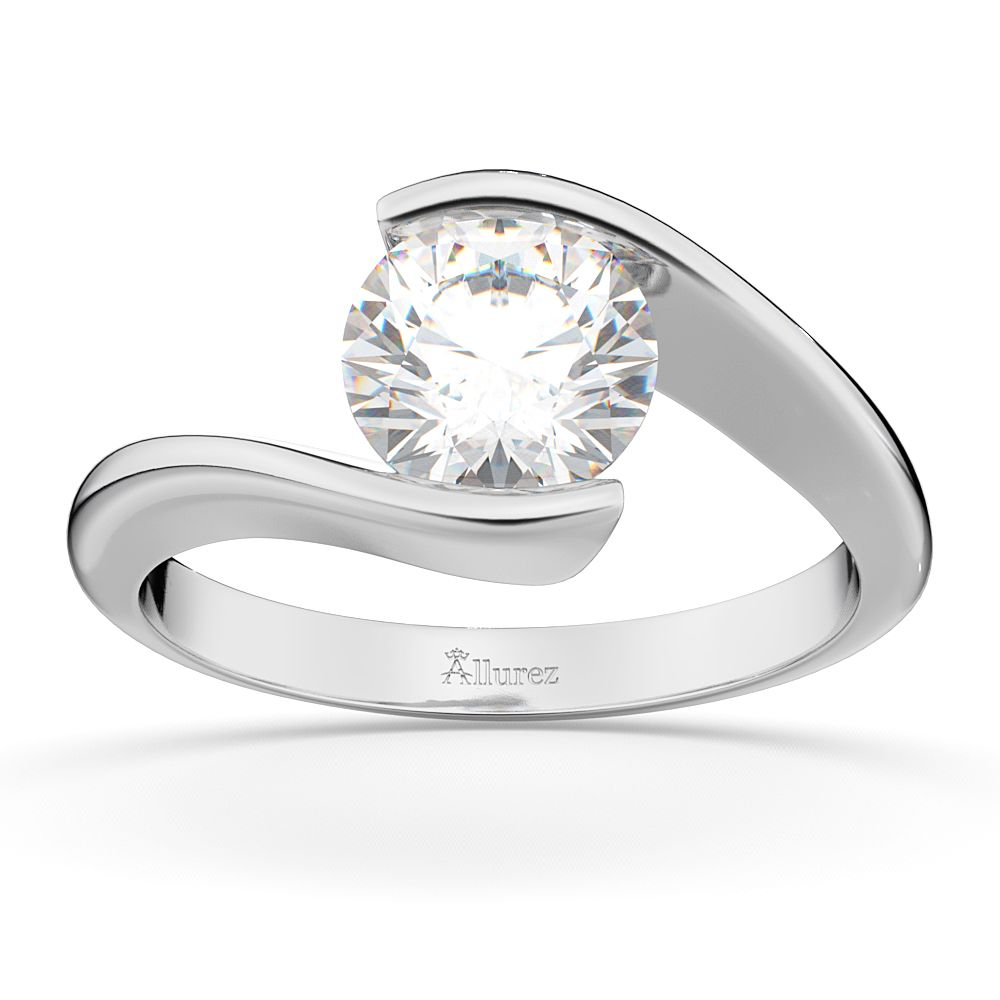 Allurez Tension Set Swirl Solitaire Engagement Ring