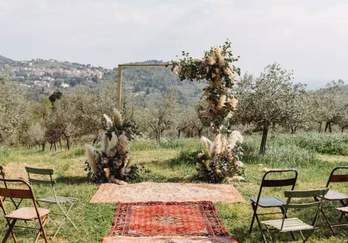 ceremony altar with rugs