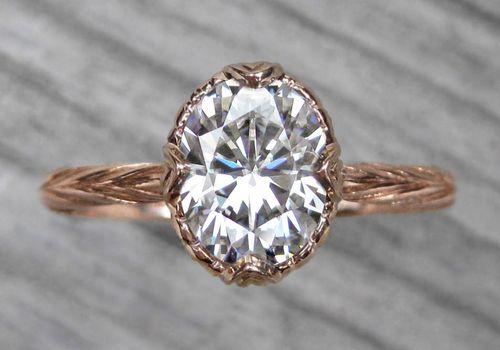 Moissanite diamond engagement ring.