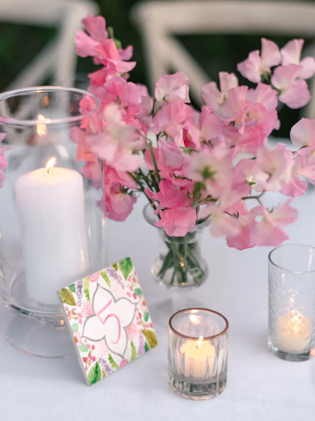 sweet pea flower centerpiece