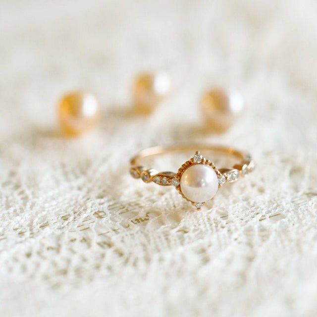 Etsy Vintage Pearl Engagement Ring