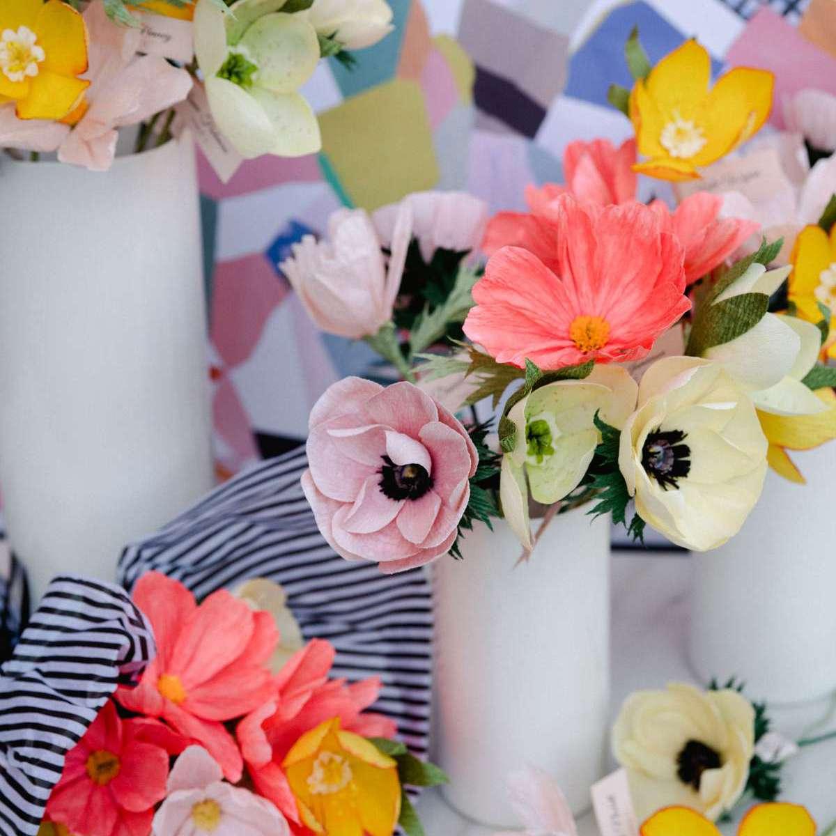 DIY paper flower wedding centerpiece