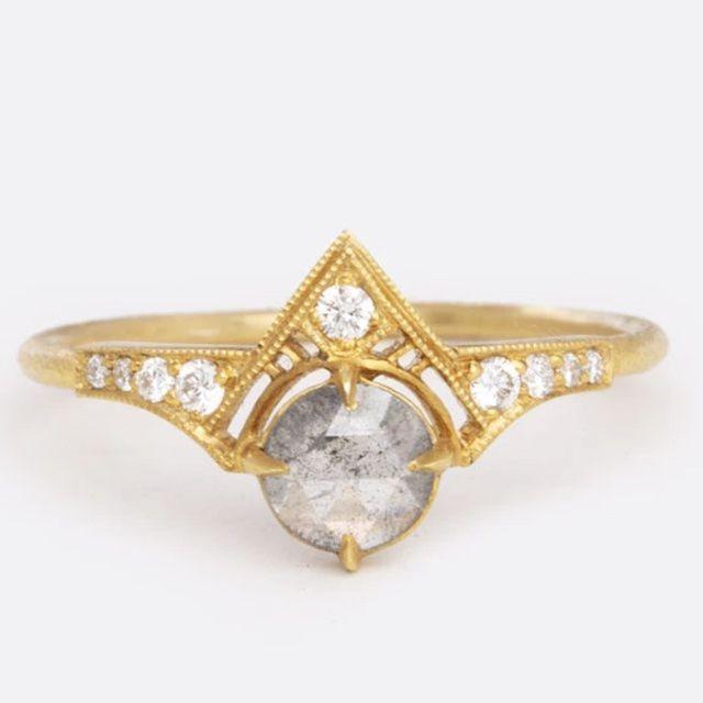 DMD Metal Salt and Pepper Diamond Cara Ring