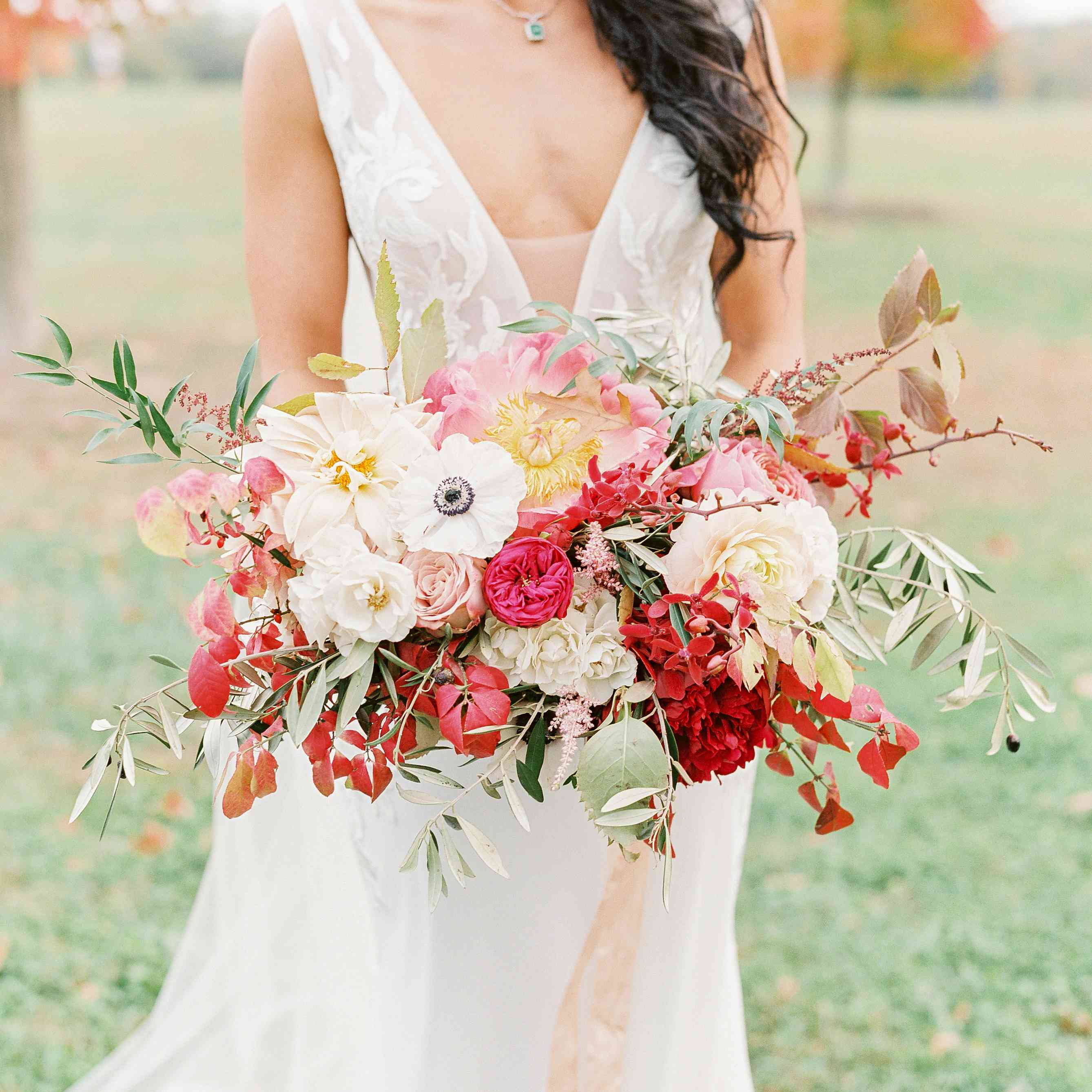 Bridal bouquet featuring red accents