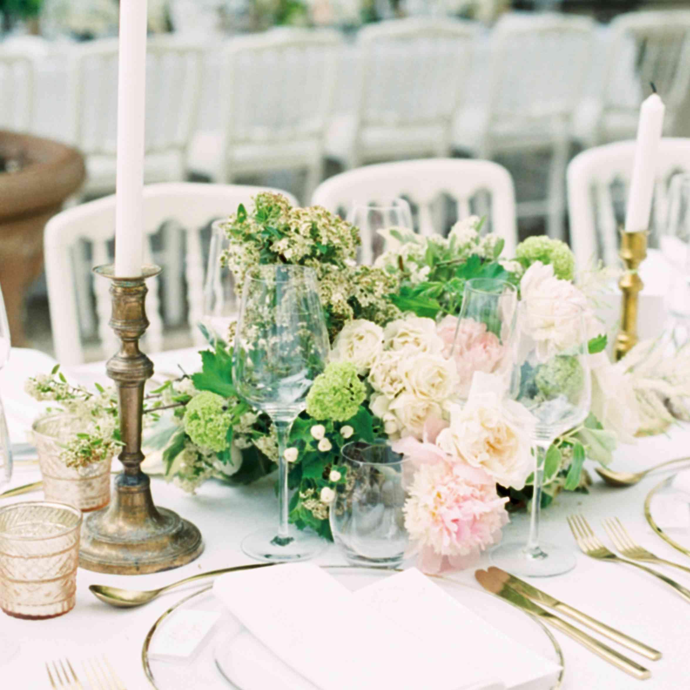 gold and white wedding reception decor