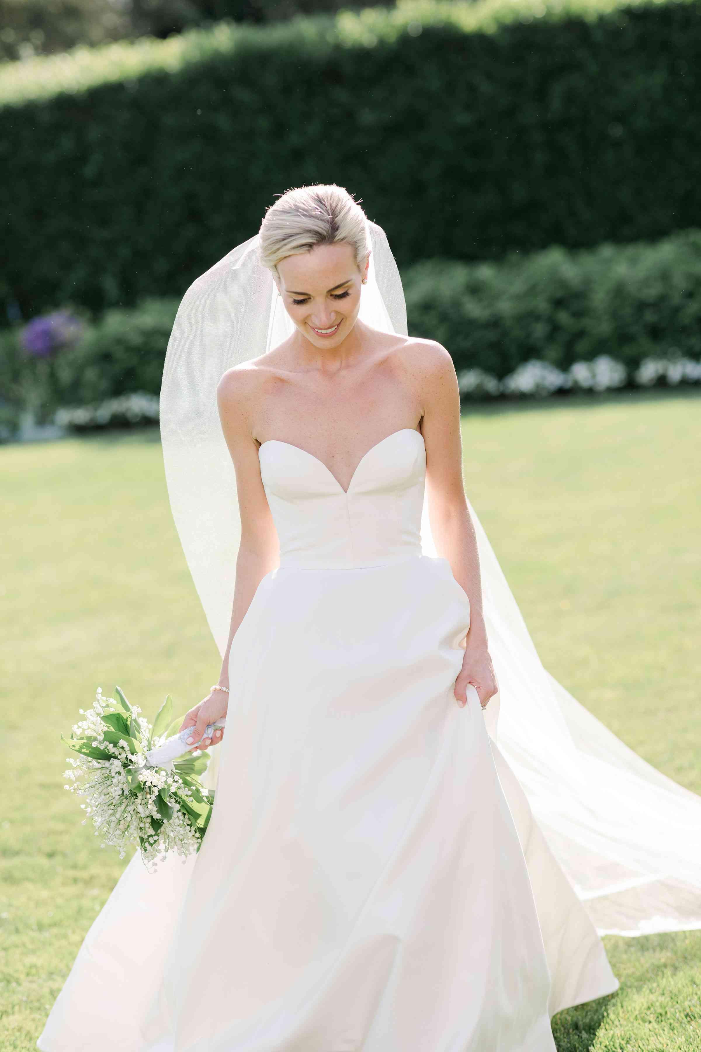 bride strapless wedding dress