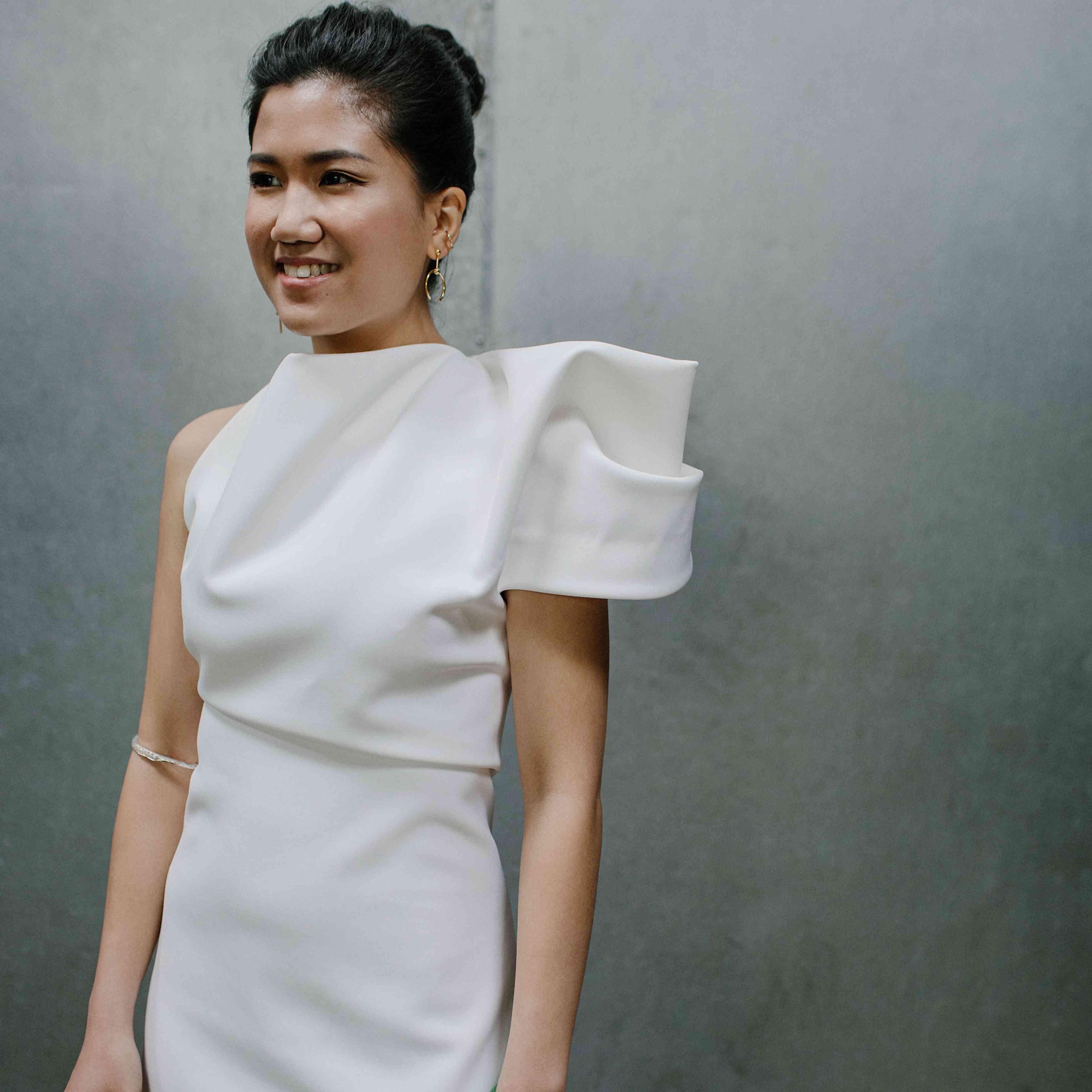 Bride solo shot in statement dress