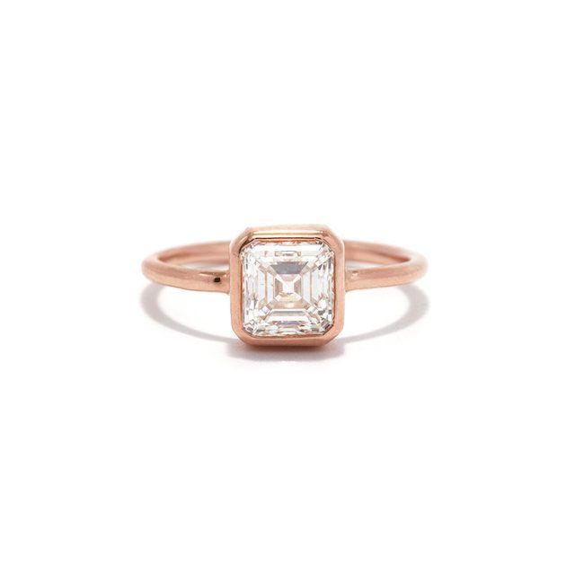 Ashley Zhang Rose Gold Asscher Cut Bezel Ring