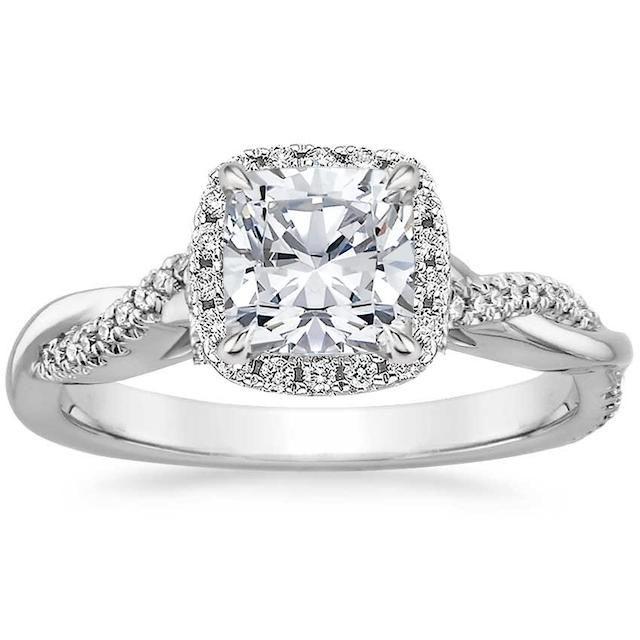 Brilliant Earth Petite Twisted Vine Halo Diamond Engagement Ring