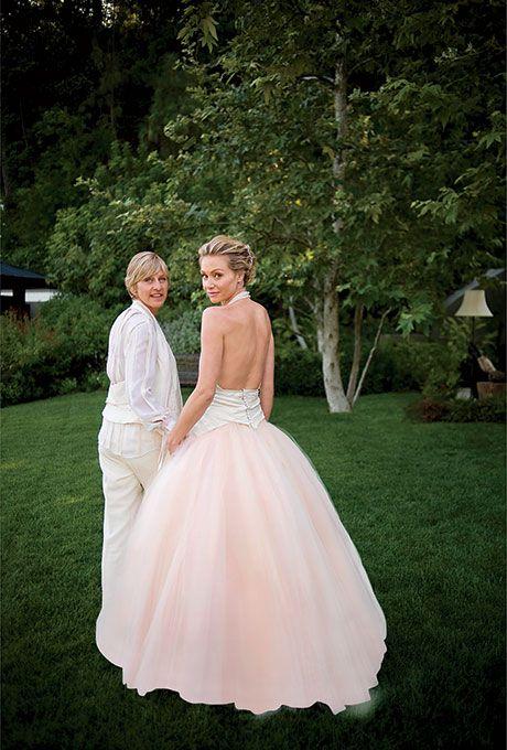 Portia DeRossi marries Ellen DeGeneres in Zac Posen, 2008