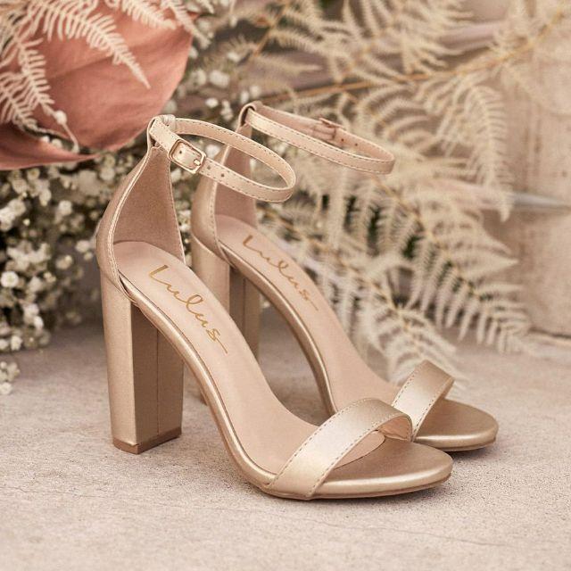 Rose gold high block heel open-toed sandals