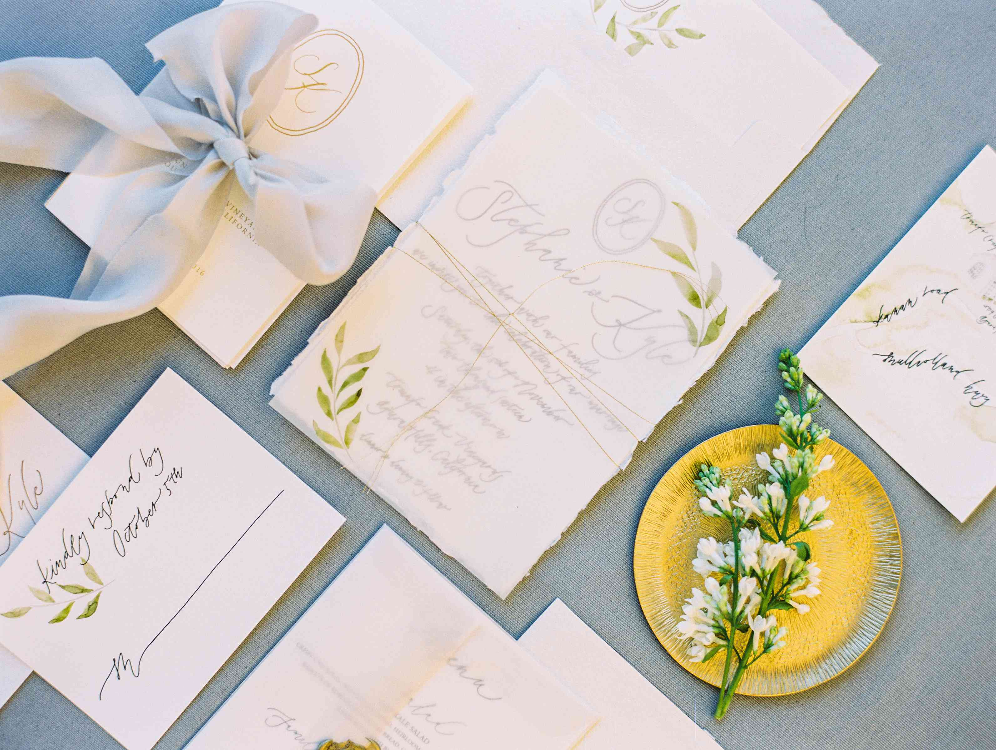 Invitation Suite with Painted Leaves