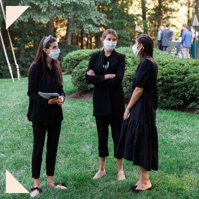 wedding guests wearing masks