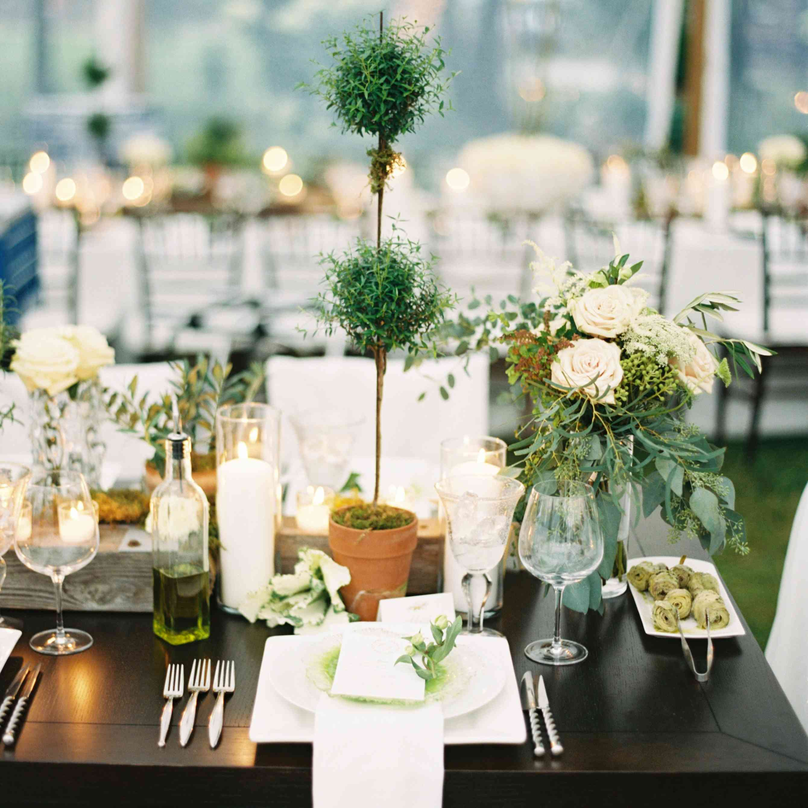 Table Setting with Topiaries