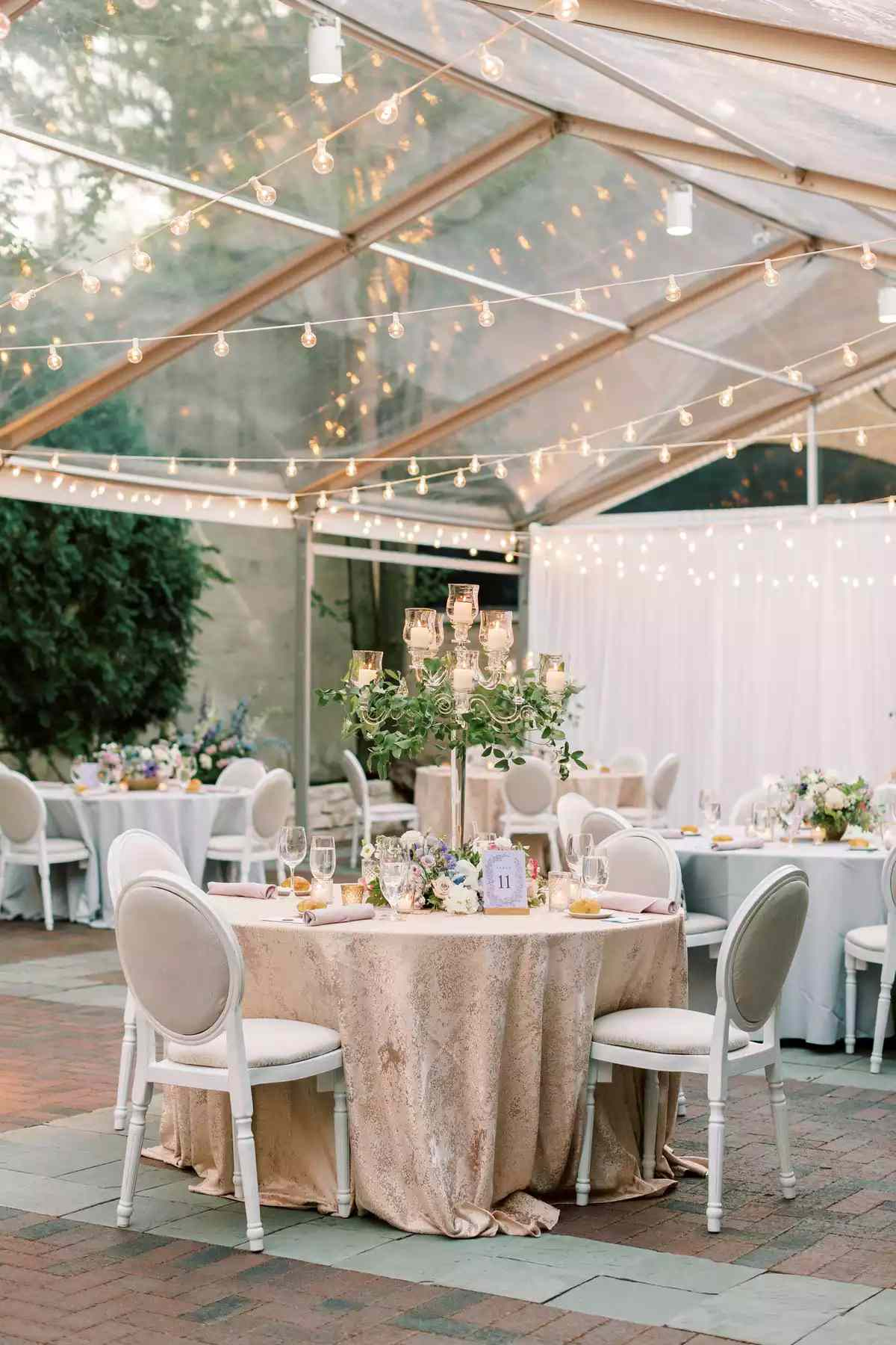 wedding reception with string lights