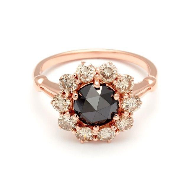 Anna Sheffield Celestine Rose Gold & Black Diamond Ring