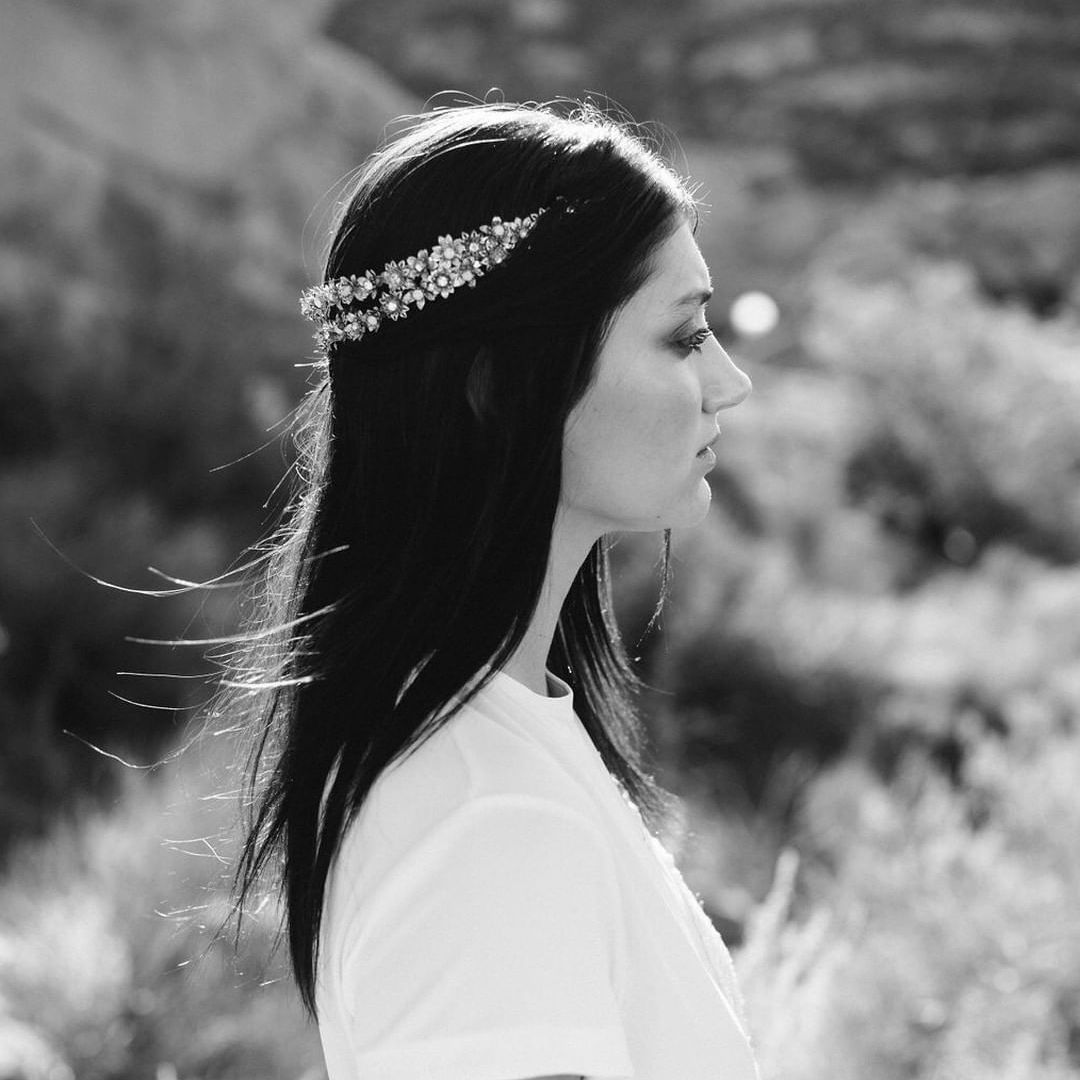 Straight Wedding Hairstyle With Double Strand Headpiece