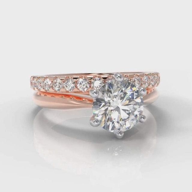 Pure Carats Six Claw Classic Solitaire Round Brilliant Cut Lab Diamond Bridal Ring Set in Rose Gold