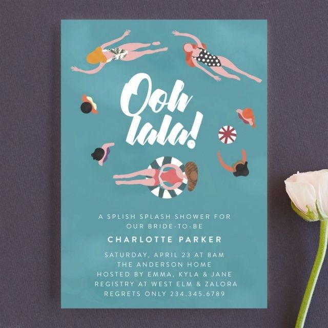 Minted Cool Pool Bachelorette Party Invitation