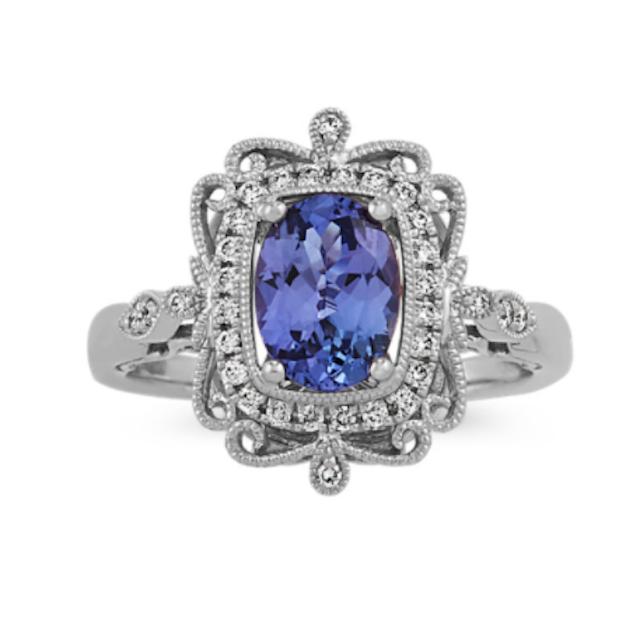 Vintage Tanzanite and Diamond Ring
