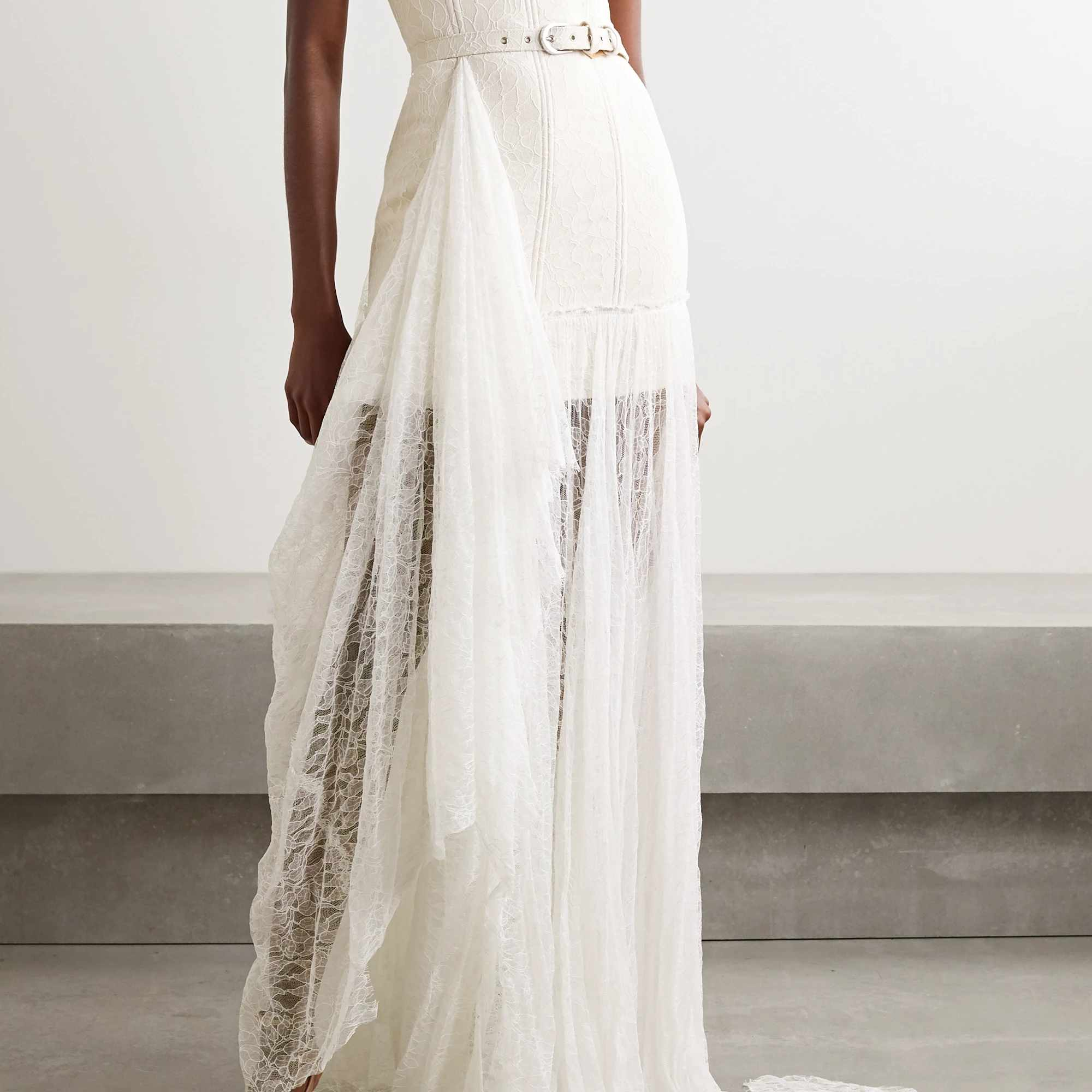 strapless belted corded lace gown