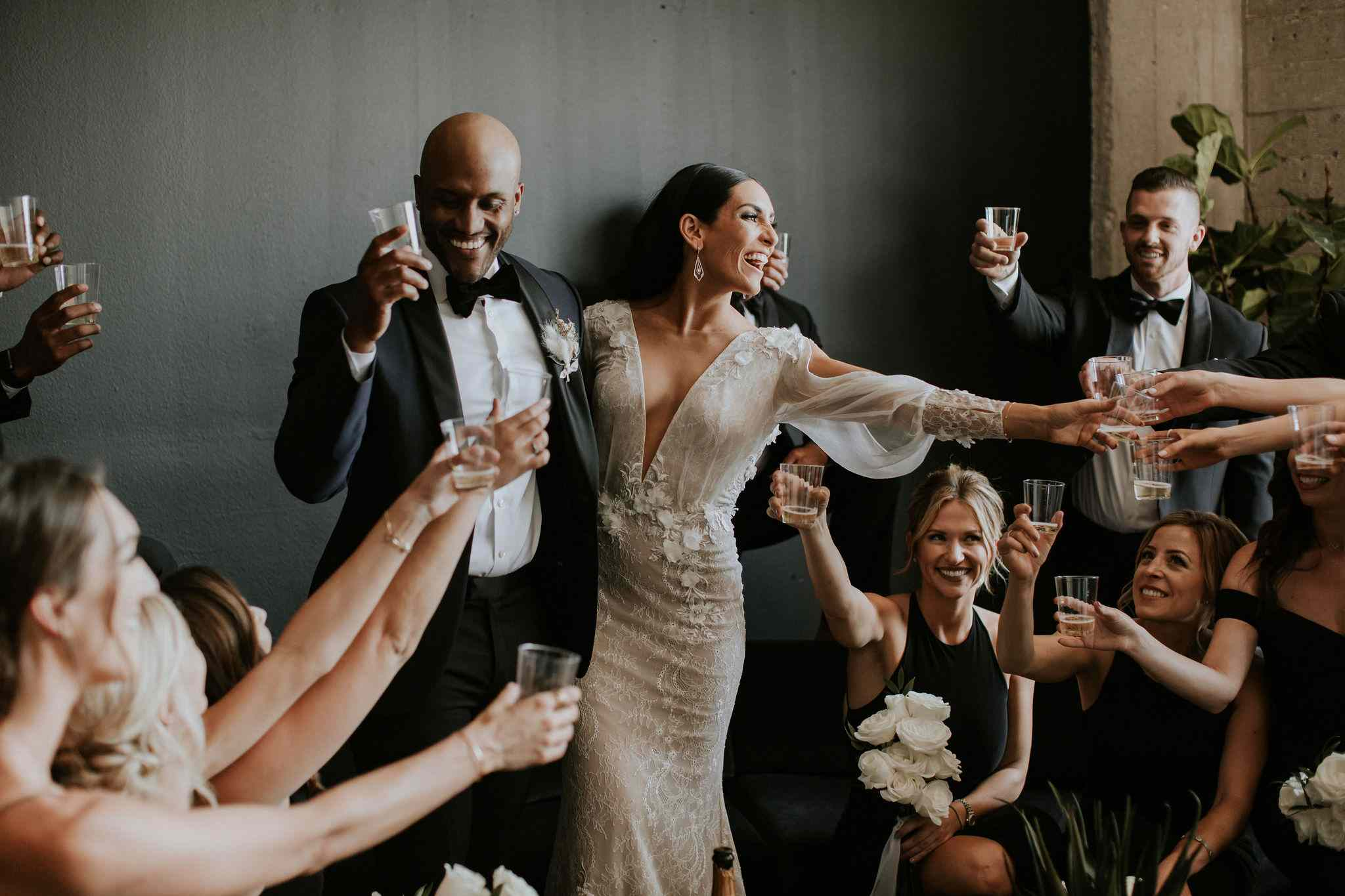 wedding party drinking champagne