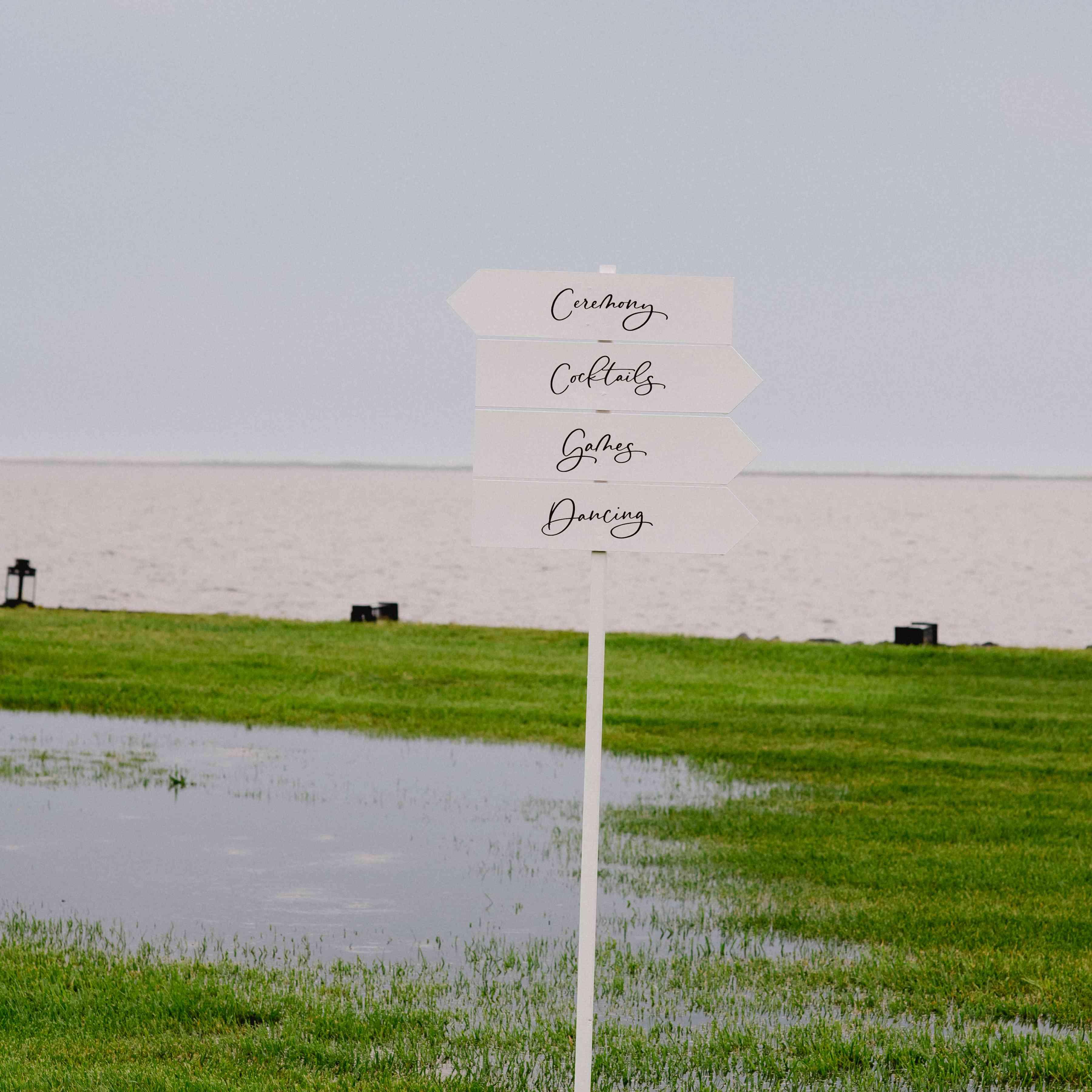 signage in rain