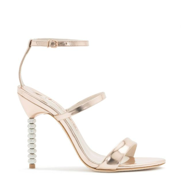 Strappy rose gold shoe with crystal-embellished high heel