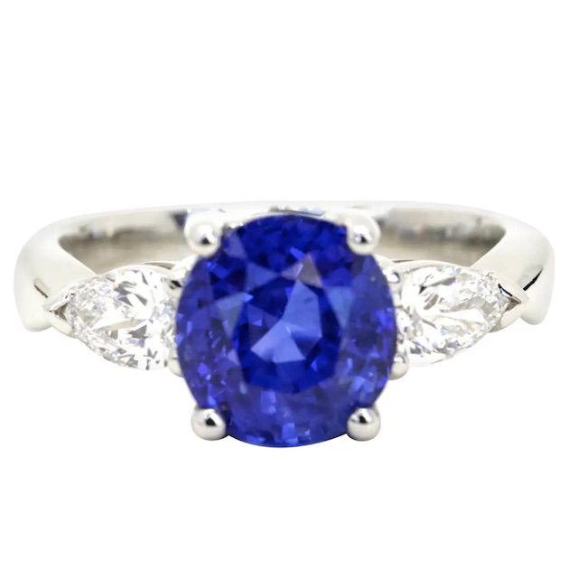 1stDibs AGL Certified 4.21 Carats Burma Sapphire and Pear Shape Diamonds in Platinum