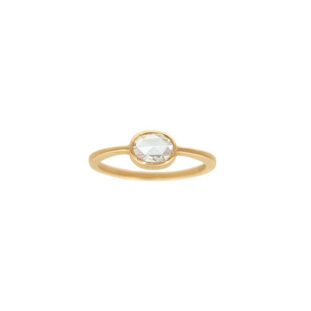 Gillian Conroy Cushion White Rose-Cut Diamond & Yellow Gold Bezel Ring