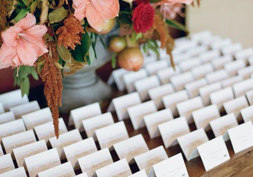 Escort Cards with Floral Arrangement