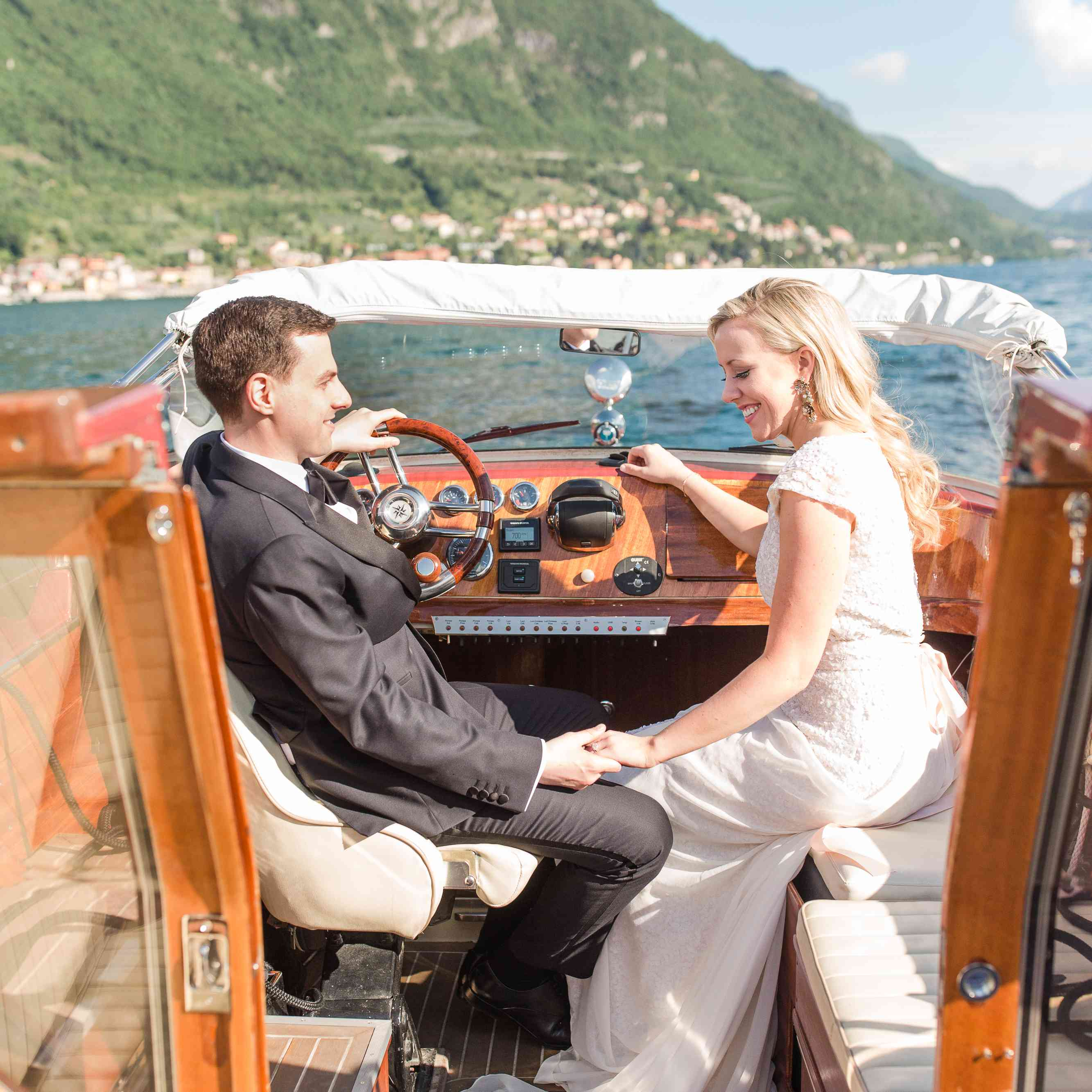 <p>Newlyweds in boat</p><br><br>