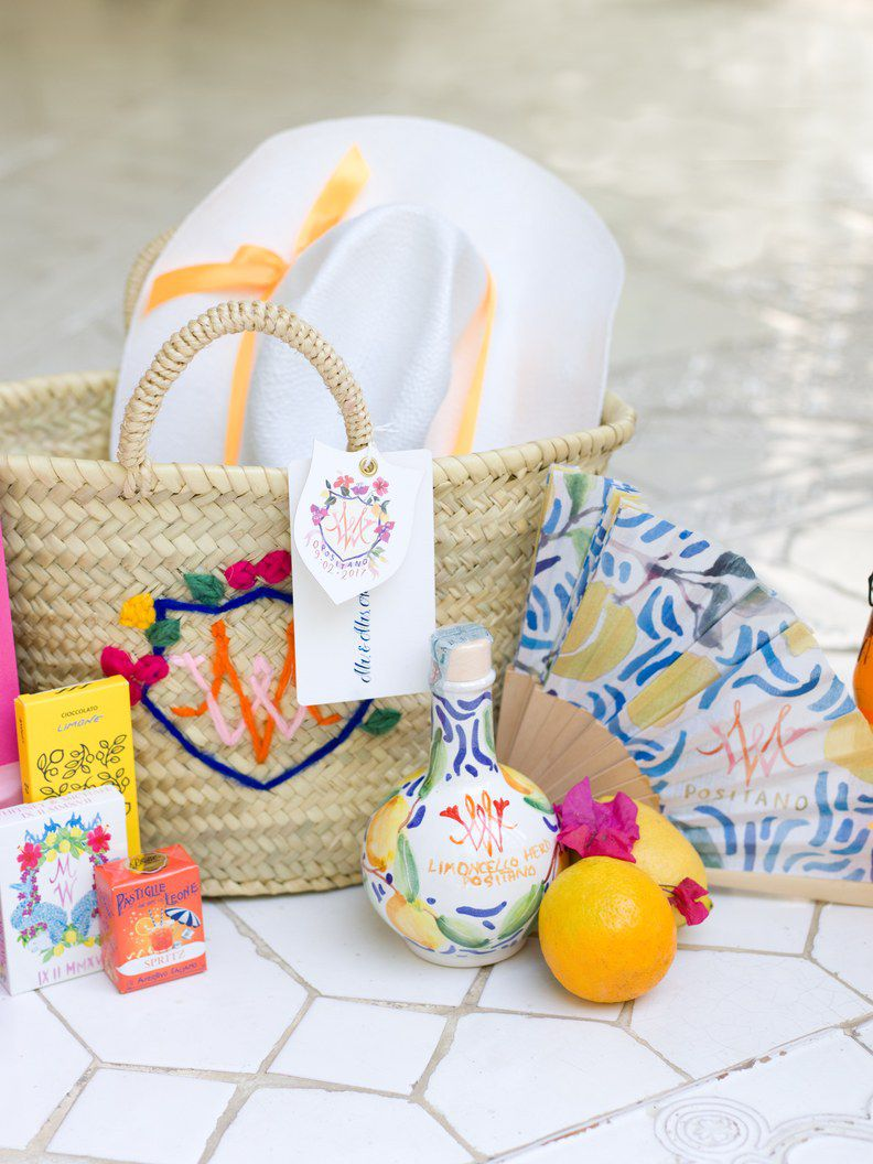 Summer themed wedding welcome bags