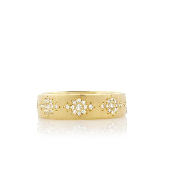 Adel Chefridi Yellow Gold Band With Shimmer Diamonds