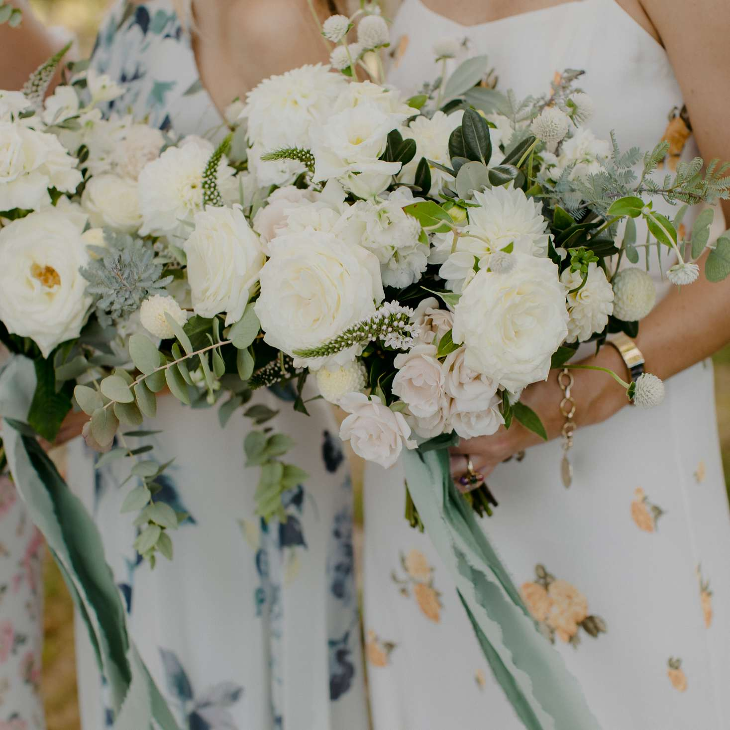 at-home rustic massachusetts wedding, bridesmaid bouquets