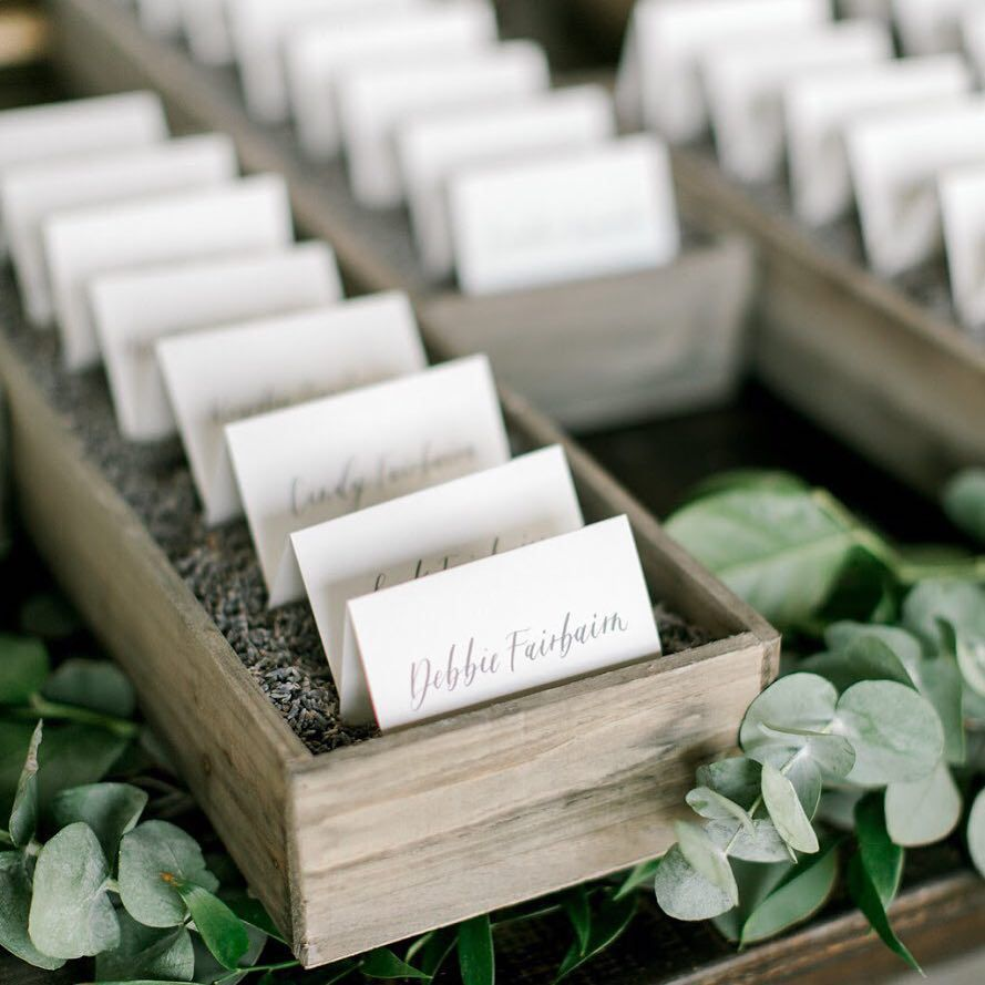 Reception Place Cards With Lavender Buds