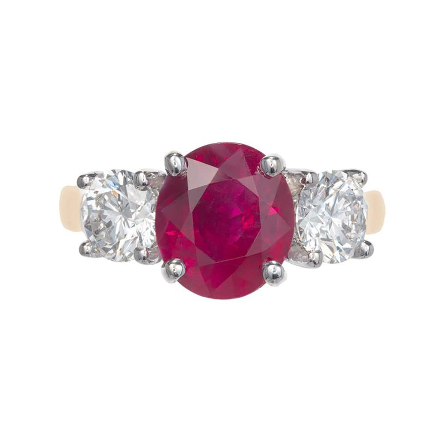 1stDibs Peter Suchy 3.16 Carat Oval Ruby Diamond Gold Three-Stone Engagement Ring
