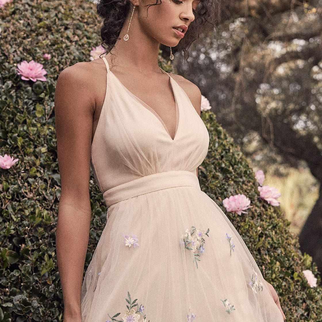 Lulus Lorenzo Beige Embroidered Maxi Dress