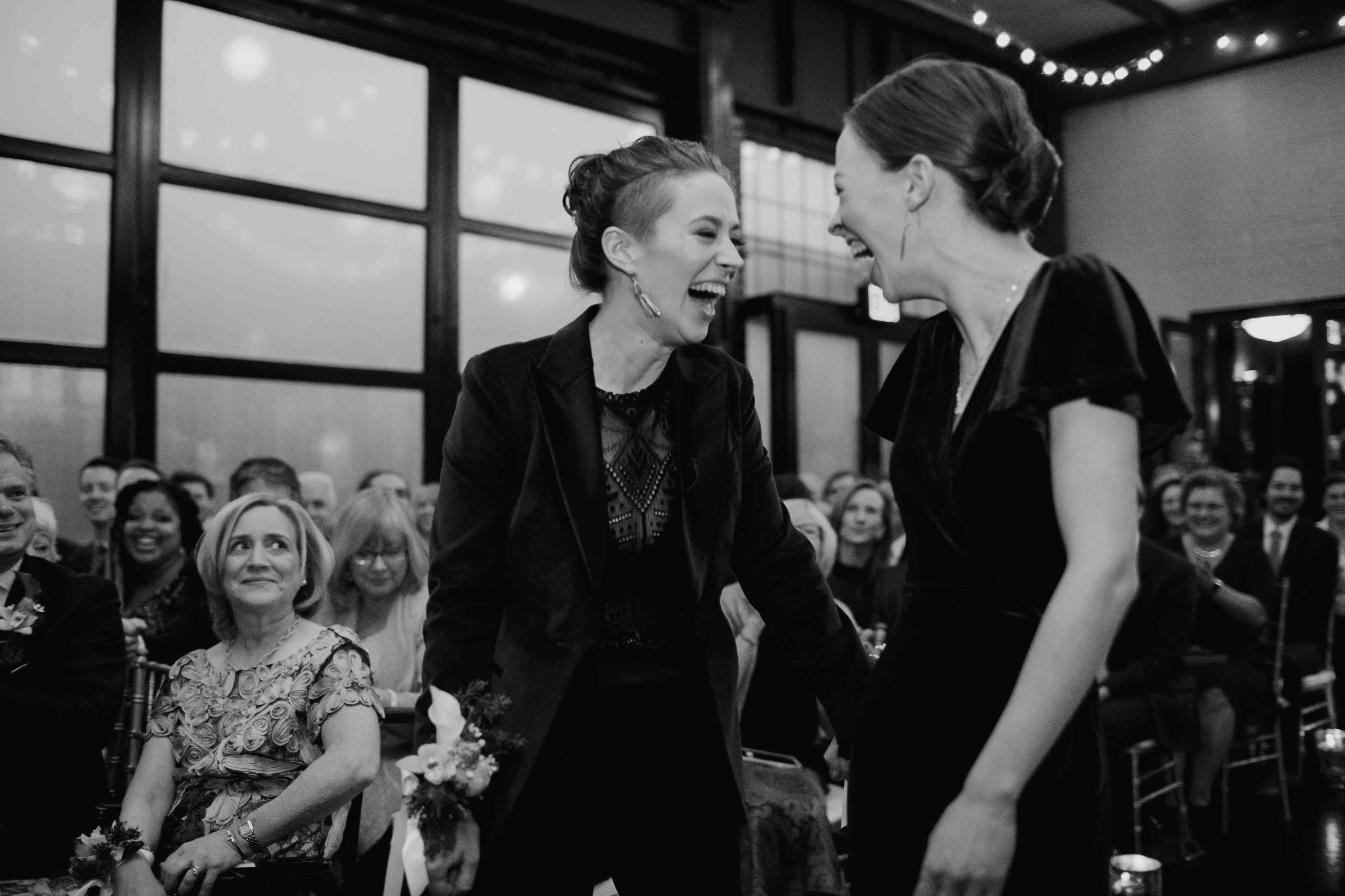 Katie and her sister share a laugh