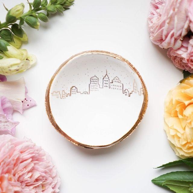 ThePaintedPress Personalized Skyline Jewelry Dish