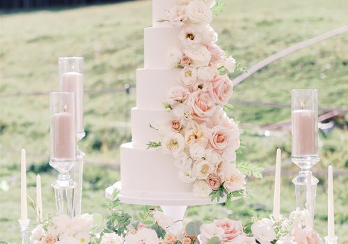 white cake with pink and white roses