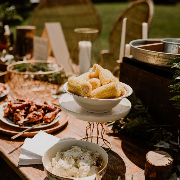 BBQ spread at an outdoor reception