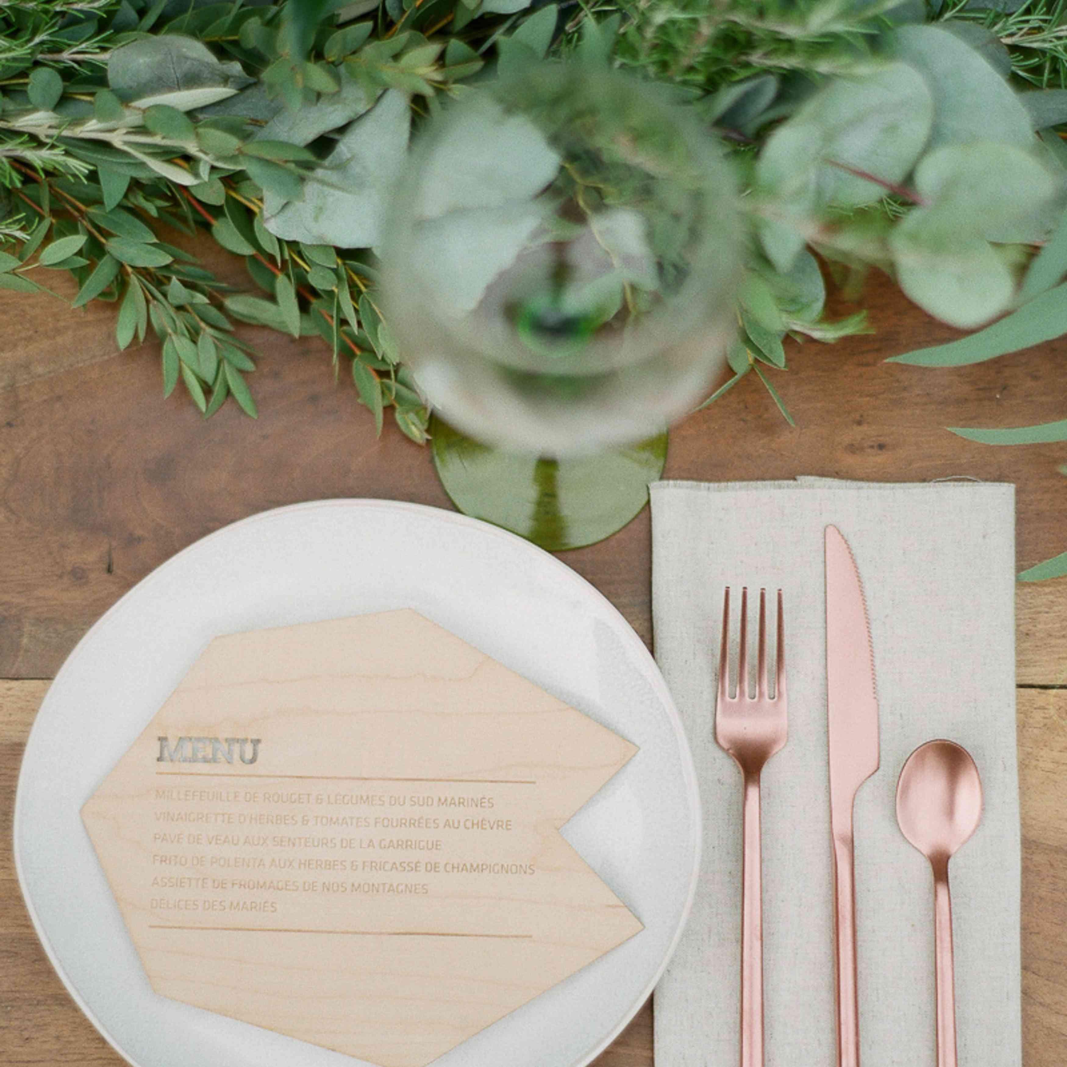 Engraved Wood Wedding Menu